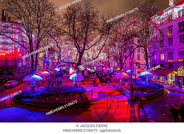 France, Rhone, Lyon, historical site listed as World Heritage by UNESCO, the Fete des Lumieres (Light Festival), place Sathonay