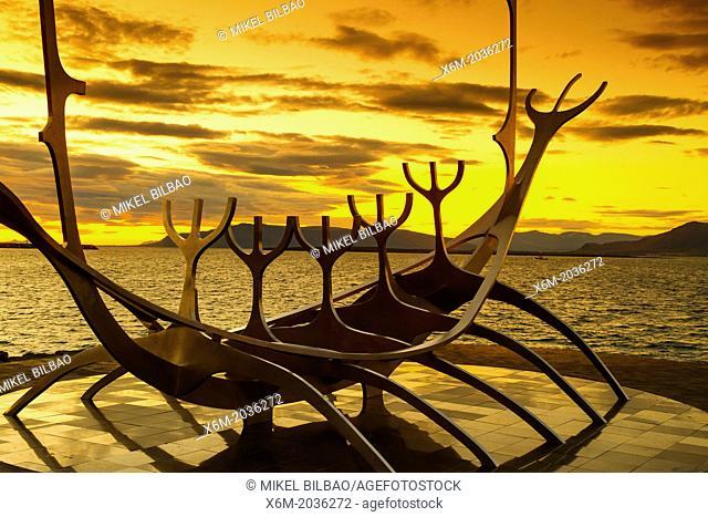 Solfar Suncraft sculpture. (Sun voyager). Reykjavik, Iceland, Europe