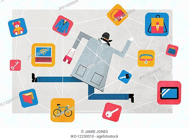 Catching thief using item location wireless technology