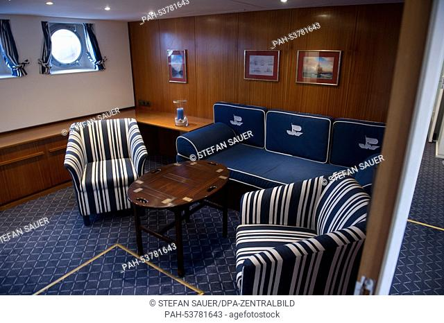View of the cabin of former state yacht of the German Democratic Republic (GDR) 'A. Koebis', which now goes by the name 'Vineta' on the grounds of Volkswerft...