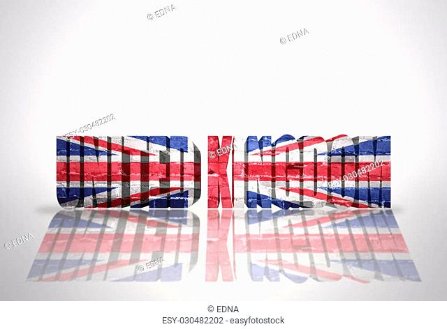 Word United kingdom with National Flag on the white background