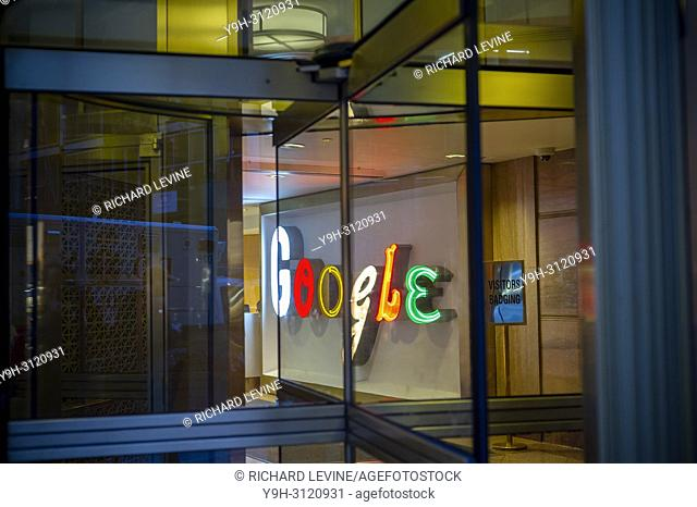 The visitors' entrance to Google's headquarters in Chelsea in New York on Tuesday, April 24, 2018. (© Richard B. Levine)