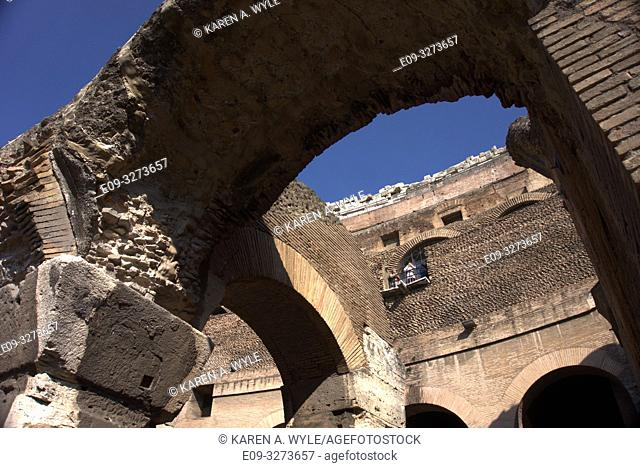 arches inside Colosseum, Rome, Italy