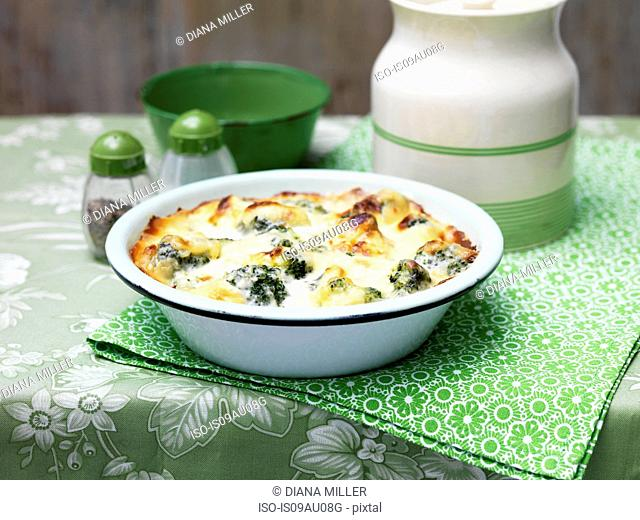 Broccoli and cheese bake in vintage bowl