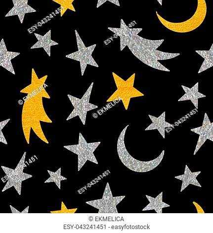 Gold and silver textured cosmic seamless pattern of the star, moon and comet on black background. Design element for background, textile, paper packaging