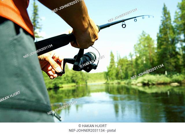 Man fishing. close-up