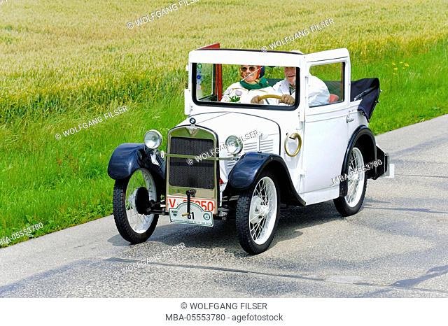 Old-timer rally 'Herkomer contention' in Landsberg in Lech for at least 80 year-old cars, here close BMW Dixi, year of manufacture in 1929