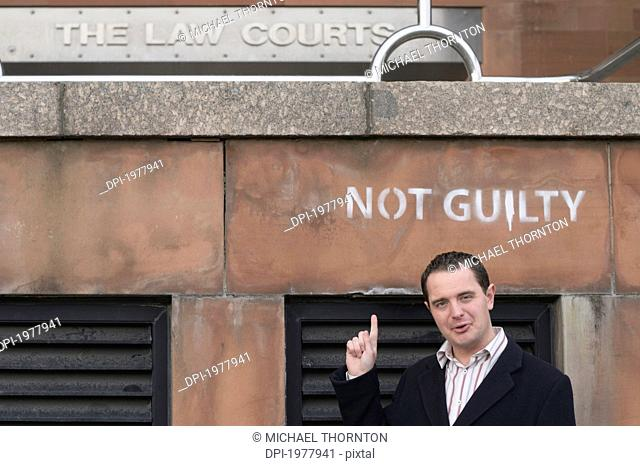 businessman outside the law courts, newcastle upon tyne tyne and wear england