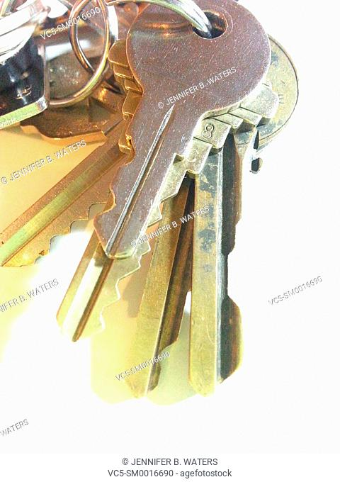 Close-up of keys on a white background