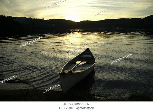 FV6318, Roderick Chen, Canoe on Lake at Sunset