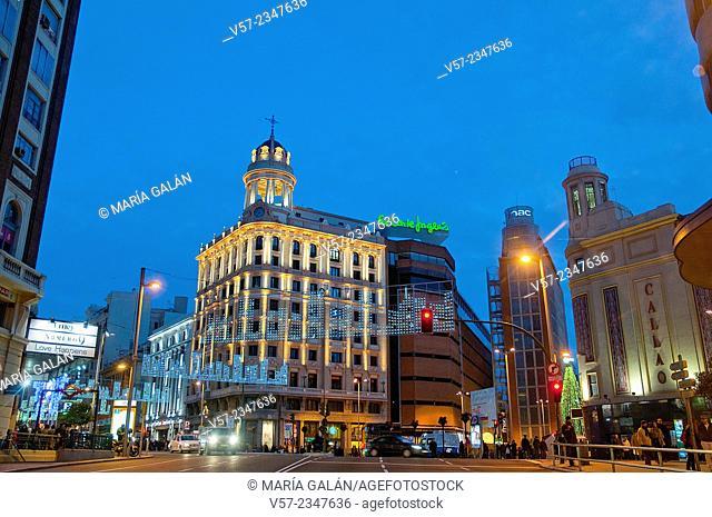 Gran Via, night view. Madrid, Spain
