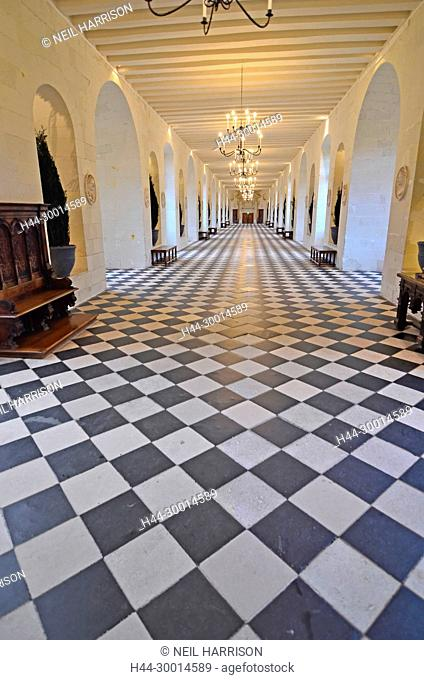 The grand gallery in the chateau de Chenonceau, which bridges the River Cher, France