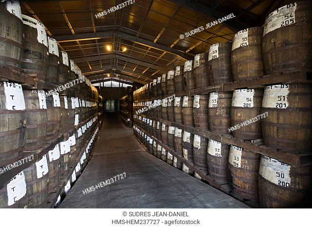 France, Martinique French West Indies, Sainte Marie, St. James Rum Distellery, AOC Martinique Rum, barrels for aging rum