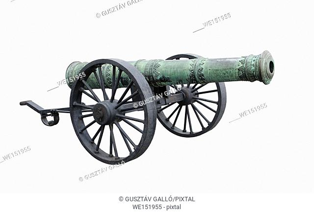 Ancient decorative cast iron Cannon isolated white background