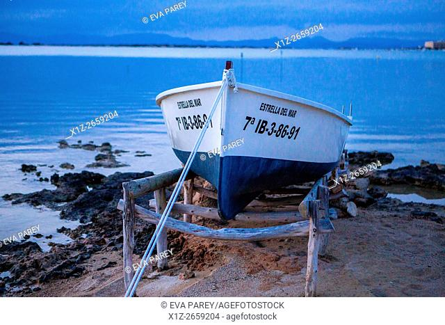A fishing boat in the lake Estany des Peix. Formentera (Balearic Islands)
