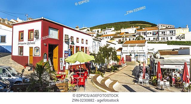 petisqueira refinada and sidewalk cafe at carrapateira, costa vicentina, algarve, portugal