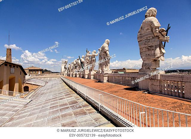 Sculptures on the roof of St. Peter's Basilica in Vatican