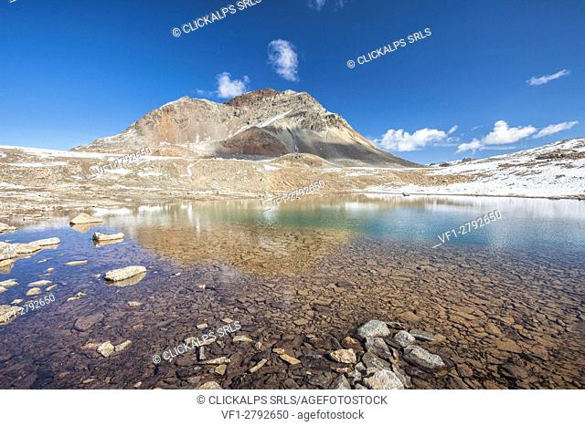 The turquoise water of Lake Languard Engadine Canton of Grisons Switzerland Europe