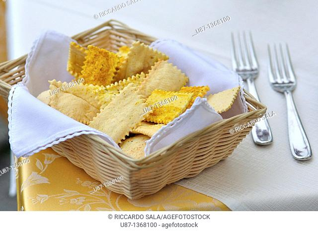 A Basket of Cracker on a Restaurant Table