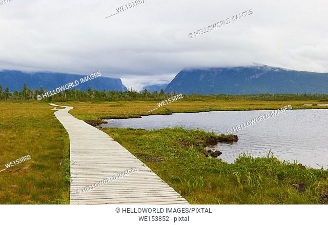 Hiking trail to Western Brook pond, a lake amongst the Long Range Mountains in Gros Morne National Park, a UNESCO world heritage site, Newfoundland, Canada