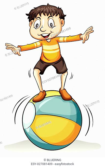 A boy on the ball idiom on a white background