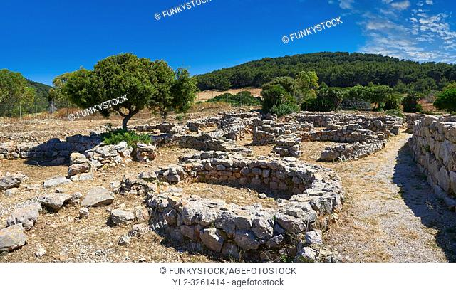 Pictures and image of the exterior ruins of Palmavera round prehistoric Nuragic village archaeological site, middle Bronze age (1500 BC), Alghero, Sardinia