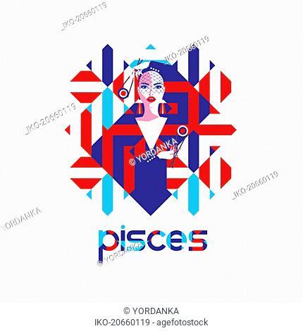 Fashion model in geometric pattern as pisces zodiac sign