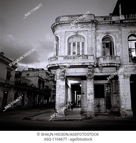 A night picture of a street corner off the Paseo del Prado in Havana in Cuba in Central Latin America