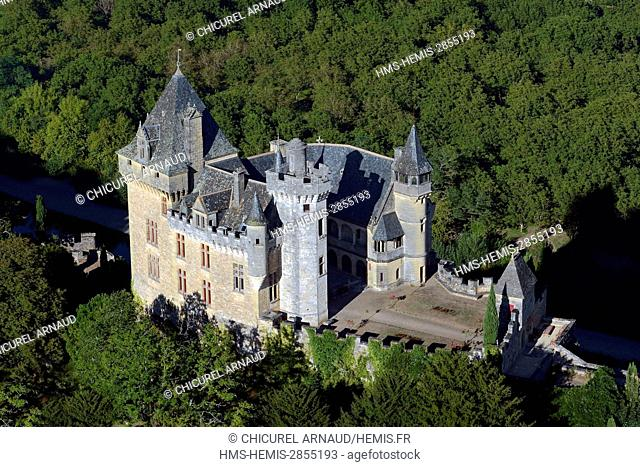 France, Dordogne, Perigord Noir (Black Perigord), Vitrac, the castle of Montfort (aerial view)