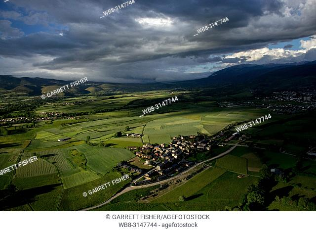 La Cerdanya, Pyrenees with Osseja, France in the shadow