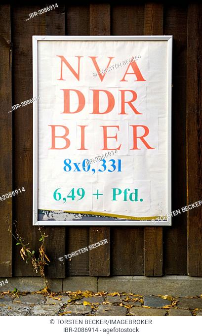 Poster, lettering NVA, DDR, Bier, German for NVA, GDR, beer, Leipziger Strasse street, Dresden, Saxony, Germany, Europe