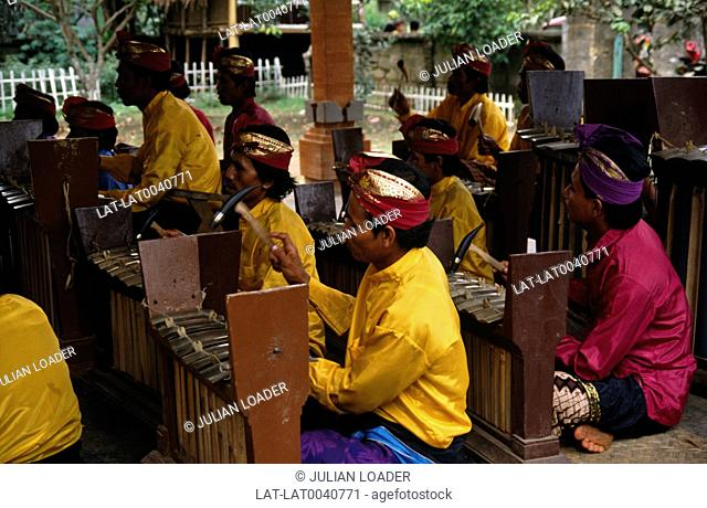A Gamelan is a traditional Indonesian band,usually consisting of metallophones,xylophones,drums,and gongs,bamboo flutes,bowed and plucked strings