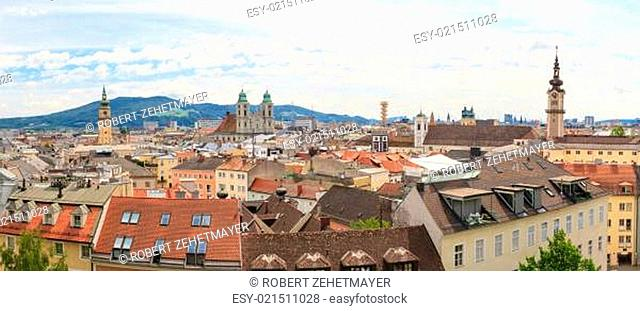 Linz, panorama of old city, Austria