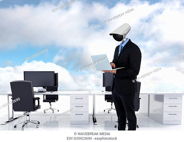 Businessman with CCTV head at office in clouds