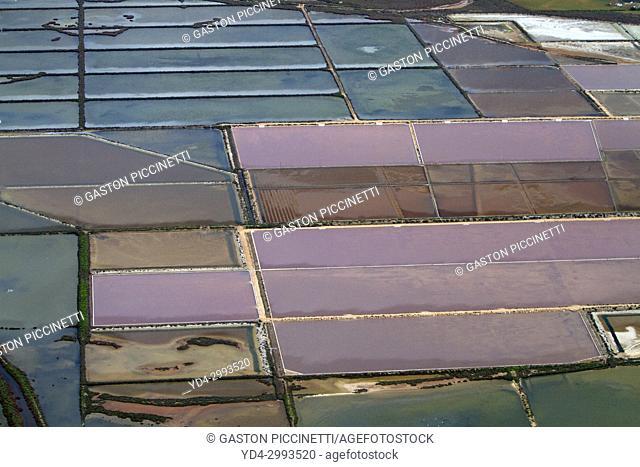 Aerial View of Salinas de Sa Vall, Colonia Saint Jordi, Mallorca, Balearic Island, Spain