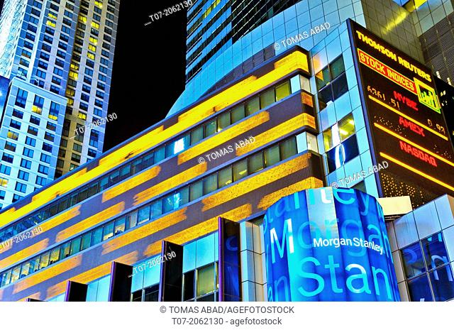 Time Square, Broadway, Morgan Stanley building, Stock Quotes, Manhattan, New York City, USA
