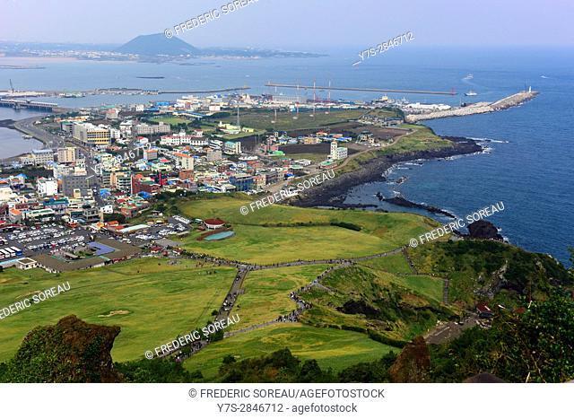 Village of Seongsan at the foot of Ilchulbong a volcanic cone,Jeju island,South Korea