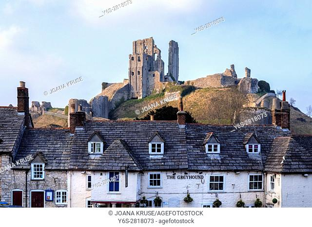 Corfe Castle, Dorset, England, UK