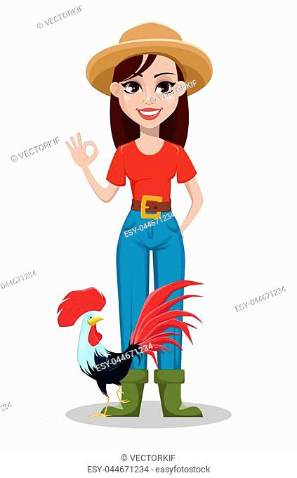 Female farmer cartoon character. Cheerful gardener woman rancher showing ok sign and standing near rooster. Vector illustration on white background