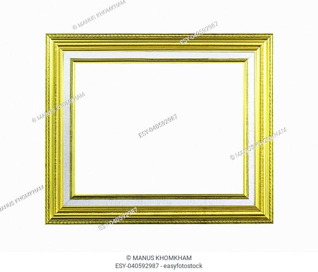 Golden wooden frame isolated on white with clipping path