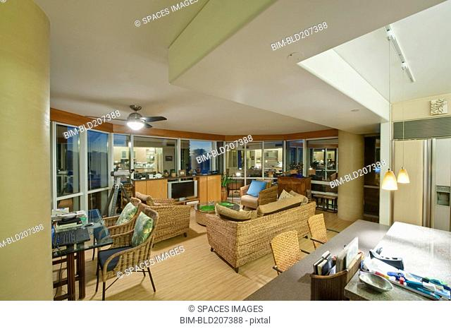 Upscale Living Room and Kitchenette in High Rise Condo
