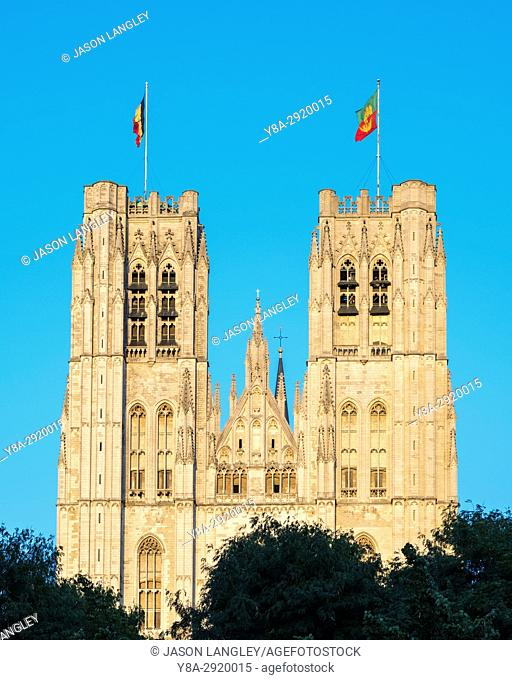 Belgium, Brussels (Bruxelles). Cathedral of St. Michael and St. Gudula