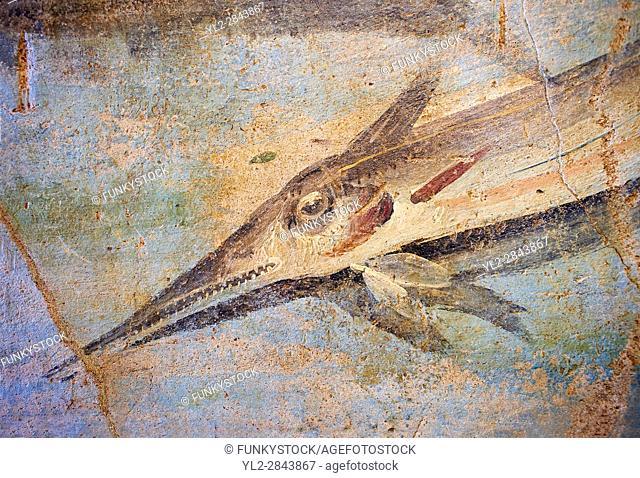 Roman Fresco detail of fishes marine life from the second quarter of the first century AD. (mosaico fauna marina da porto fluviale di san paolo)