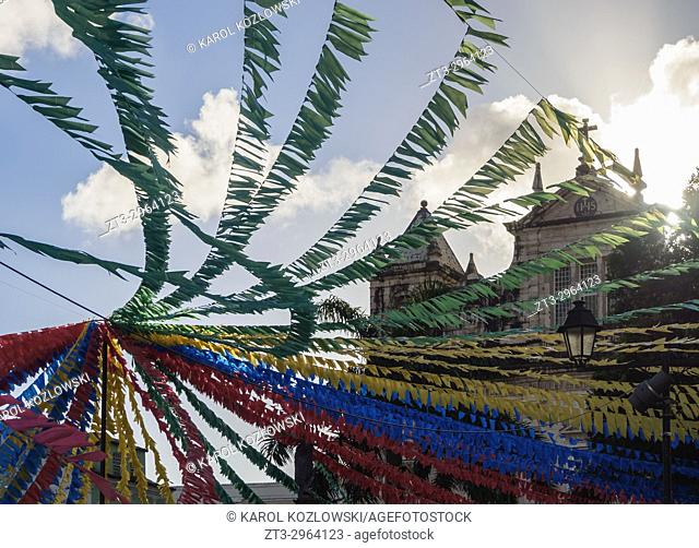 Sao Joao Festival Decorations in front of the cathedral, Terreiro de Jesus Square, Old Town, Salvador, State of Bahia, Brazil