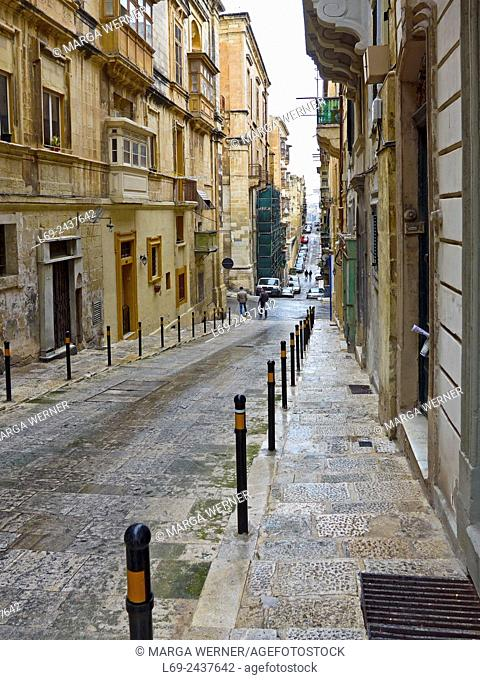 Island Malta, Mediterranean Sea, street in the old town of Valetta