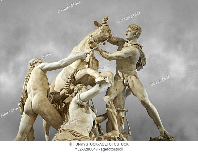 2nd century AD Roman marble sculpture known as the Farnese Bull from the Baths of Caracalla, Rome, Farnese Collection, Naples Museum of Archaeology, Italy