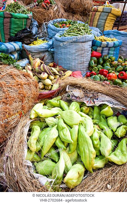 Vegetables in bolivian market. La Paz. Bolivia