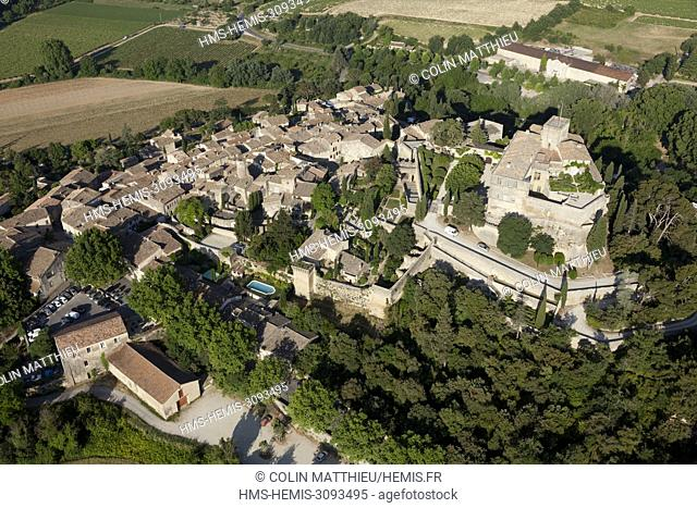 France, Vaucluse, regional park of the Luberon, Ansouis, labellise The Most Beautiful Villages of France, perched village and its castle (aerial view)