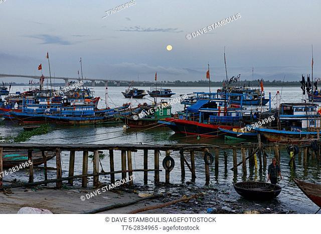 Full moon over the fishing village, Hoi An, Vietnam