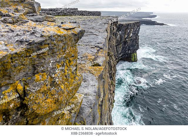 The cliffs of Dun Aengus, a late bronze-age fortification site outside the village of Kilronan, Inishmore, Aran Islands, Ireland